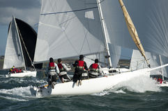 Team skipper on yacht at regatta Stock Photo