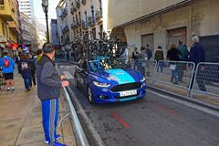 Team Sky Car With Bikes On The Roof royalty free stock photos