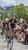 Team Sky Climbing Alpe D'Huez Foto de Stock Royalty Free