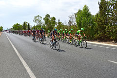 Team Sky At front Of Peleton La Vuelta España. Team Sky with the red jersey rider Chris froome and Cannondale Drapac leads the field in La Vuelta España Stock Photo