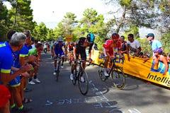 Team Sky Leading Up ett lopp för kulleLaVuelta España cirkulering royaltyfri foto