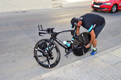 Team Sky Pinarello Bike Mechanic Stock Image