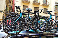 Team Sky Pinarello Bikes On Team Car Royalty Free Stock Photos