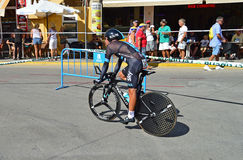 Team Sky In Time Trial Cycle Race Royalty Free Stock Images