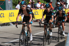Team Sky under Tour de France 2014 Royaltyfria Bilder