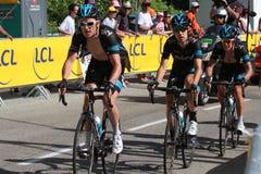 Team Sky under Tour de France 2014 Royaltyfria Bilder