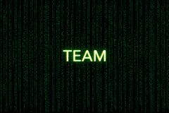 Team, sleutelwoord van scrum, op een groene matrijsachtergrond vector illustratie