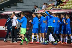 Team Slovenia celebrates after scoring goal. RIGA, LATVIA. 10th of June, 2019. UEFA EURO 2020 Qualification game between national football team of Latvia and stock photo