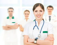 A team of smart and young Caucasian doctors Royalty Free Stock Photo