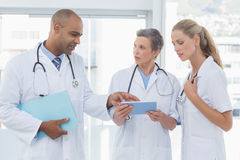 Team of smiling doctors working on their files Royalty Free Stock Photos