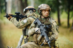 Team of soldiers are reconnaissance Stock Photo