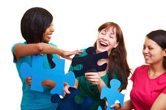 Team solving a jigsaw puzzle Royalty Free Stock Images