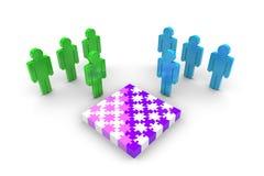 Team Solving Puzzle Imagenes de archivo