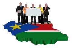 Team on South Sudan map flag Stock Images