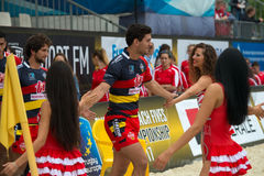 Team Spain goes on the field. MOSCOW, RUSSIA - JULY 22-23, 2017: Rugby players in action at the on European Beach Fives Rugby Championship 2017 at the stadium of Royalty Free Stock Photography
