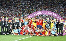 Team of Spain, the Winner of UEFA EURO 2012 Tournament Stock Photography