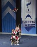 Team Spartan Warrios dall'Ungheria che esegue ai campionati Cheerleading europei 2018 dell'ECU Fotografia Stock Libera da Diritti