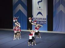 Team Spartan Warrios dall'Ungheria che esegue ai campionati Cheerleading europei 2018 dell'ECU Fotografie Stock