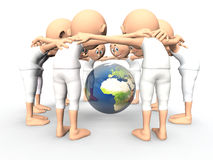 Team spirit, debate about Earth. Team spirit, debate about the Earth, environment. 3d little humans royalty free illustration