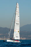 Team Spirit of Hungary. Boat and Barcelona City Background. Barcelona World Race, Stock Photography