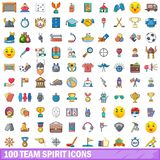 100 team spirit icons set, cartoon style. 100 team spirit icons set. Cartoon illustration of 100 team spirit vector icons isolated on white background Stock Photo