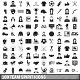 100 team spirit icons set, simple style. 100 team spirit icons set in simple style for any design vector illustration Royalty Free Stock Photography