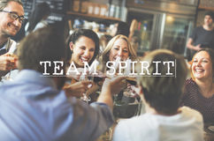 Team Spirit Toast Tgether Team umgås upp begrepp arkivbild