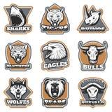 Team Sport Animals Logotypes Set colorido Fotografía de archivo