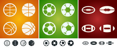Team sport balls Stock Images