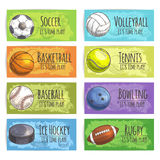 Team sport banners with balls. Sport banners. Sports balls and equipment sketch icons of gaming accessories soccer, basketball, baseball, ice hockey puck Royalty Free Stock Image