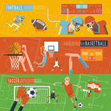 Team sport horizontal banners set Stock Images