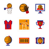 Team sport icons set. Basketball. Team sports symbols and signs. Flat color style icons set. Basketball form, ball, competition and other. Elements of web design Royalty Free Stock Photos