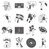 Team sport icons set black. Basketball cricket and football competitive matches team sport attributes symbols icons collection black abstract vector isolated Royalty Free Stock Image