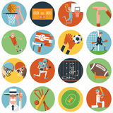 Team sport icons set flat Royalty Free Stock Photography