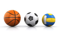 Team sports balls. On the white background Royalty Free Stock Photography