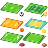 Team sports fields and balls. Soccer, tennis, basketball, volleyball, ragby, american football fields layout and balls Stock Images