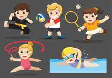 Team sports for Player. Team sports for kids including Gymnastic, Volleyball, Swimming, Badminton , Karate royalty free illustration