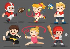 Team sports for kids. Team sports for kids including Karate, Volleyball, American Football, Baseball, Tennis, Gymnastic vector illustration