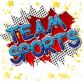 Team Sports - Comic book style phrase. Team Sports - Vector illustrated comic book style phrase with abstract background vector illustration