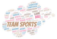 Team Sports word cloud. Wordcloud made with text only vector illustration