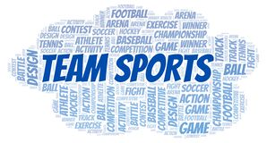 Team Sports word cloud. Great graphic illustration for your needs, beautiful and colorful stock illustration