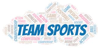 Team Sports word cloud. Wordcloud made with text only stock illustration