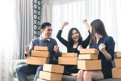 Team of start up business owner celebrating sale order. Team of start up online business owner celebrating sale order Stock Images