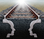 Team Strategy On Track. Team strategy business concept as a railroad track in perspective with the shape of two human heads underground working together as a stock illustration