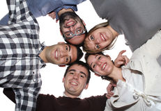 Team of Students. Five students united in a circle posing as team Royalty Free Stock Photos