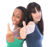 Team success for African and Japanese teenagers Stock Photo