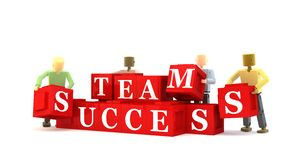 Team success concept. 3d illustration of business team putting blocks together to spell success, white background Stock Image