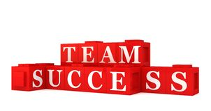 Team success sign. 3d illustration of red blocks spelling team success, white background Stock Photos