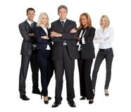 Team of successful business people on white. Portrait of a group of successful business people together on white background Stock Images