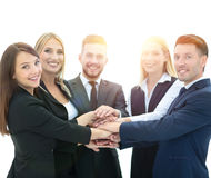 Team of successful and confident people posing on a white backgr Royalty Free Stock Photos
